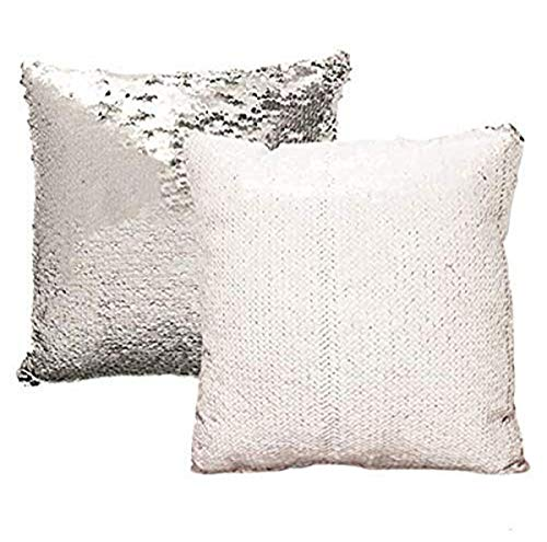 Lets be Mermaids LBM-SEQP2-WS Sequin Reversible Decorative Colorful Throw Decorative Pillow Couch Sofa Bed 16'x16', 16x16, White/Silver