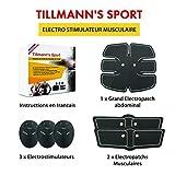 Tillmann's Sport Electroestimulador muscular: EMS, con almohadillas abdominales, de brazos y piernas para un cuerpo esculpido, ideal para adultos unisex, tonifica tu cuerpo