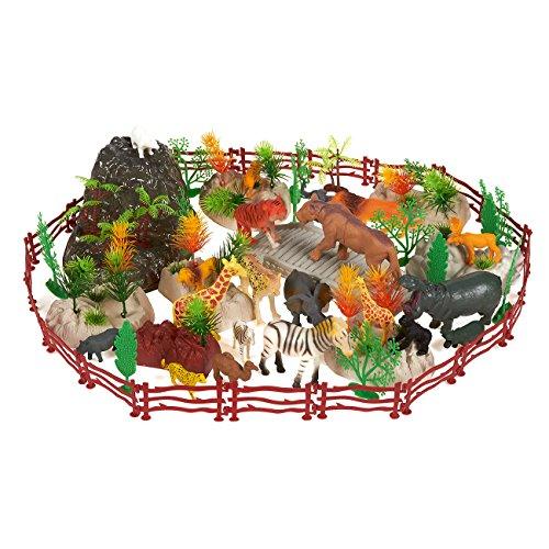 Blue Panda Confezione da 100 Animali di plastica per Animali da Zoo - Figure di Animali da Zoo con Oggetti di Scena, Fogliame, recinzioni e Rocce, Include Custodia