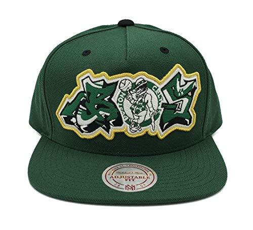 Mitchell & Ness Boston Celtics Graffiti Script Adjustable Snapback Hat