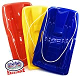 Matty's Toy Stop 26' Heavy Duty Plastic Snow Sled Toboggan with Tow...