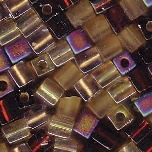 Miyuki 4mm Glass Cube Beads Color Mix Wheatberry Browns Ambers 10 Grams