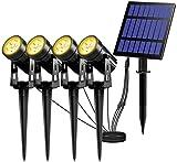 T-SUN Solar Spotlights, 4-in-1 Solar Landscape Spot Lights Outdoor Waterproof Auto ON/Off 5W Separate Solar Panel LED Lights, Solar Lights for Garden, Yard, Driveway, Pool Area(Warm White-3000K)