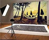 Fondo de vinilo para fotografía de playa de 30 x 30 m, foto de hamaca vacía en la playa al amanecer con palmera de coco, fondo de impresión exótica para fotografía de fondo de estudio