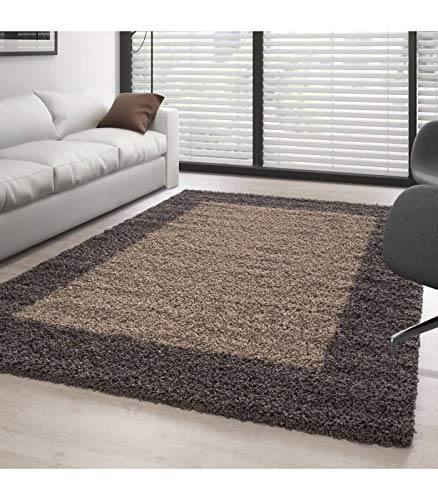 Carpettex Teppich Tapis Shaggy Pile Longue Designe 2 Couleur Taupe-Mocca - 120x120 cm Environ