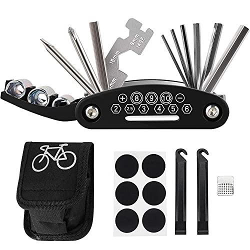 Cevikno Fahrrad Multitool, 16 in 1 Werkzeuge für Fahrrad Reparatur Set Multifunktionswerkzeug Reparatur Fahrradwerkzeug Tool, Werkzeugset Fahrrad mit Reifenheber, Selbstklebendes Fahrradflicken