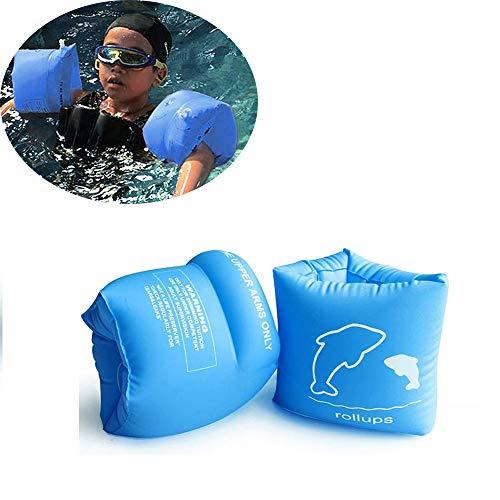 Schwimmflügel,Kinder Armrings Doppelballon Verdickte Aufblasbaren Handring Schwimmhülsen Erwachsener Babyschwimmen Flügel,Blau