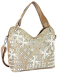 Taupe Geometric Gem Sparkle Purse