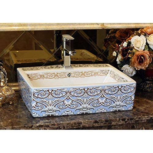Rechteckige Form Europa-Art-Waschbecken Sink Jingdezhen Art Gegenober Keramik Waschbecken Rechteckigen Keramik-Waschbecken Schön