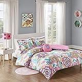 MI ZONE Comforter Set, Vibrant Flowers Design All Season Teen Bedding, Matching Sham, Decorative Pillow, Girls Bedroom Décor, Full/Queen, Camille Pink 4 Piece