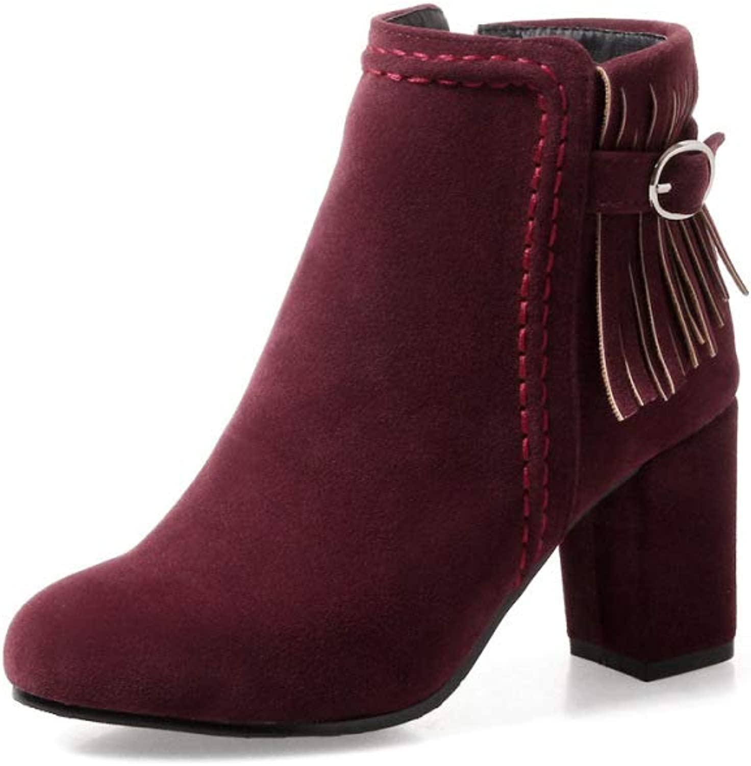 Women Fashion Simple Ankle Boots 2018 Winter New Tassel High Heel Boots Size 30-48,Wine red,34