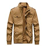Buytop Men's Casual Winter Cotton Military Jackets Outdoor Full Zip Army Coat(812Khaki-2XL)