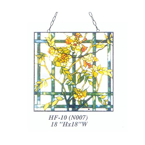 HF-10 (N007) estilo rústico vintage Tiffany vidriera de iglesia arte cristal decorativo amarillo jazmín de invierno cuadrado ventana colgante panel de vidrio Suncatcher, 18 pulgadas de alto x 18 pulgadas de ancho