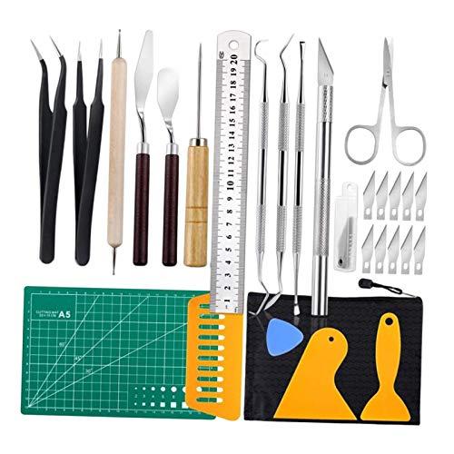 FITYLE 28 piezas conjunto de herramientas de vinilo para manualidades, pinzas, reglas de gancho de tijera para Silhouettes Cameos Cricut 2D animación,