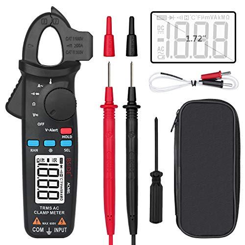BSIDE ACM81 1 mA medidor de abrazadera True RMS Multímetro de rango automático de temperatura diodo V-alerta continuidad Ohm voltaje corriente CA probador con clip trasero