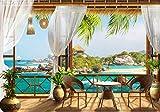 wandmotiv24 Fototapete Tropical Meer-blick Balkon S 200 x 140cm - 4 Teile Fototapeten, Wandbild, Motivtapeten, Vlies-Tapeten Palmen,Strand, Bambus M1231