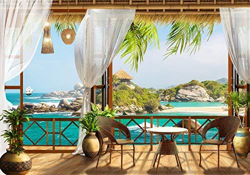 wandmotiv24 Fototapete Tropical Meer-blick Balkon , L 300 x 210 cm - 6 Teile, Fototapeten, Wandbild, Motivtapeten, Vlies-Tapeten, Palmen,Strand, Bambus M1231