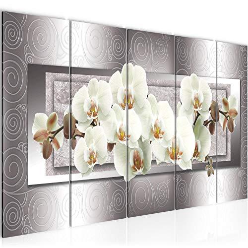 Runa Art Cuadro XXL Flores Orquídea 200 x 80 cm Gris Beige 5 Piezas - Made in Germany - 205455b