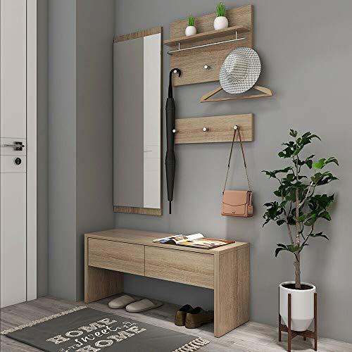 Style home 4tlg. Garderobenset Flurgarderobe Wandgarderobe Holz Komplettgarderobe-Set, inkl. Spiegel, 2 Garderobenpanel und Bank, SH78M11053-HOL