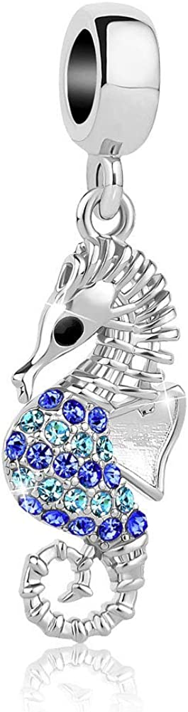 SexyMandala Women's Tropical Sparkling Seahorse Animal Charms Blue&Green Crystal Bead fit European Bracelet