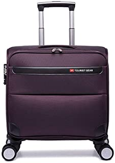 Fashion Oxford Waterproof Suitcase Boarding 16/20/24 Inch Wheels Business Travel Luggage Trolley (Color : Purple, Size : 20inches)