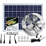 ECO HOUSE Solar Powered Attic Fan DC Powerful Vent Fan with 10Ah LiFePO4 Lithium Battery + 25W Solar Panel Set for Attic Ventilation, Lowering Temperature - Two Year Warranty