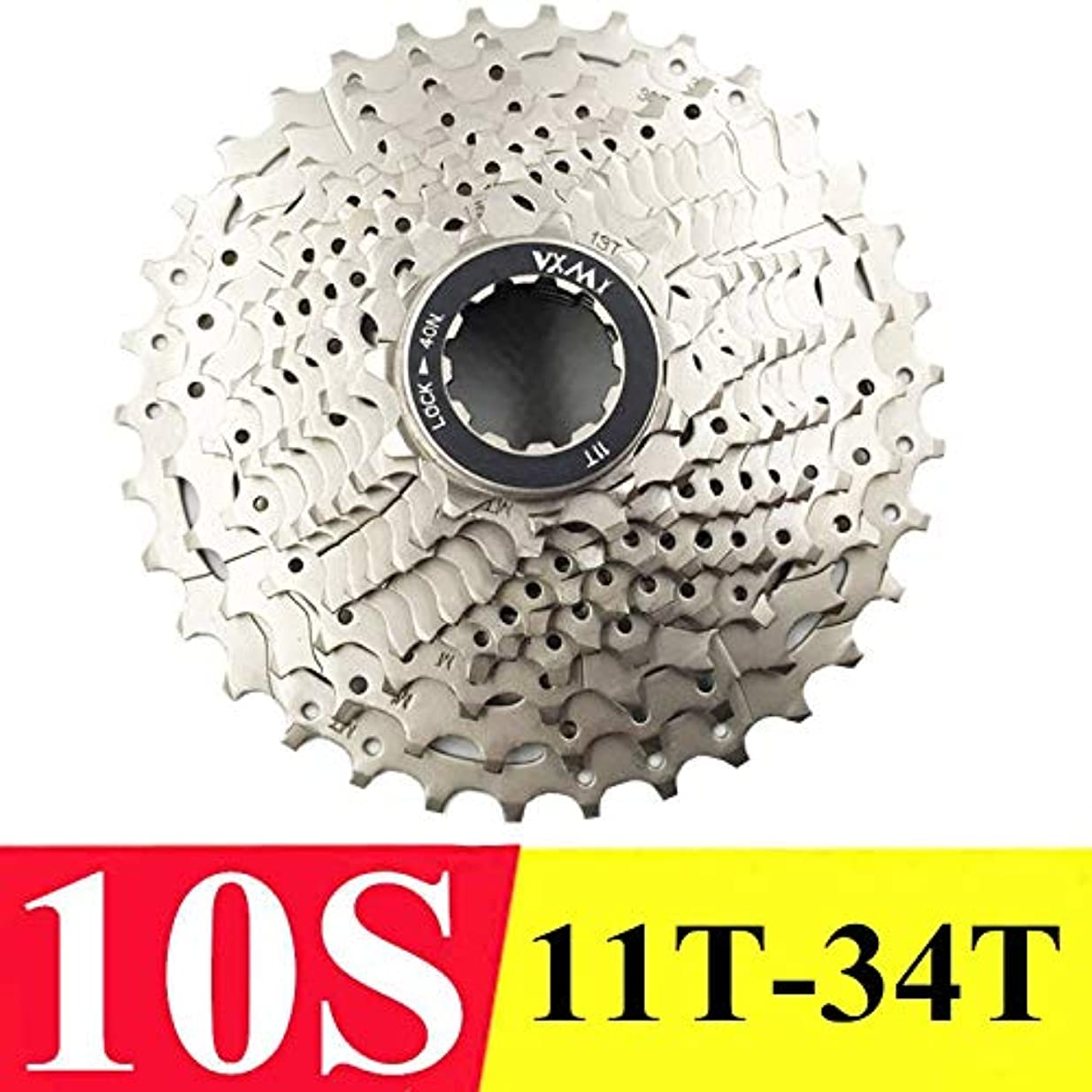 Propenary - 自転車フリーホイールフリーホイールカードタイプフライホイール10スピード11-32T / 34T / 36T / 40T / 42T / 46Tカセットフリーホイール自転車部品[10S 34Tシルバー]