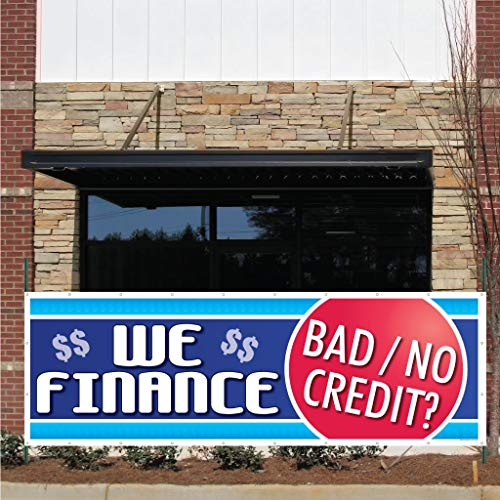 "VictoryStore Outdoor Banners - Auto Sales Banner -""We Finance Bad Credit� 10 Ounces Vinyl Banner, with Grommets for Hanging Car Dealer Banner (2 feet by 6 feet) Photo #3"