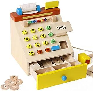 子供用木製レジ、0-2-3-4歳の赤ちゃんシミュレーションキャッシャー教育玩具、子供用スーパーマーケットショッピングふりプレイグッズ