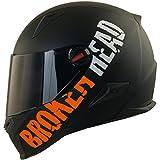 Broken Head BeProud Matt-Schwarz & Orange - Motorradhelm Mit Schwarzem Zusatz-Visier - Größe M...