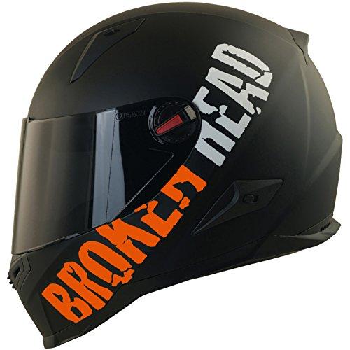 Broken Head BeProud Matt-Schwarz & Orange - Motorradhelm Mit Schwarzem Zusatz-Visier - Größe M (57-58 cm)