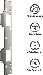 Door Security Plate, Steel Strike Plate, Dual Security Strike Plate, Door Security Devices with 5-1/2 inch to 6 inch Hole Spacing's On Latch and Deadbolt, Between Door Jamb and Door