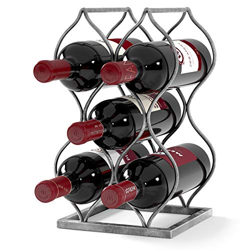 Wills Tabletop Wine Rack - Imperial Trellis 5 Bottle Silver – Freestanding countertop Wine Rack and Wine Bottle Storage Perfect Wine Gifts and Accessories for Wine Lovers no Assembly Required