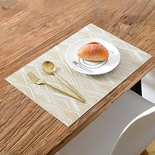 QERTYU Muebles Resistentes al Calor Las Tapas Antideslizantes Resistentes a Las Manchas de Las Tapas de la Mesa de PVC de Las Decoraciones para la Cocina de la Cocina, Set de 4 12'x 18',Oro