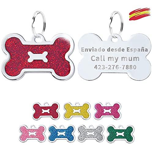FUSIYU Placa Chapa Medalla, Etiquetas de Identificación de Mascotas Etiquetas de Perro Personalizada Grabado para Collar Perro Gato Mascota Grabada Brillantitos Acero Inoxidable, Hueso,Rojo