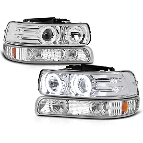 VIPMOTOZ Chrome CCFL Halo Ring Projector Headlight + Front Bumper Parking Turn Signal Lamp Housing Assembly Replacement For 1999-2002 Chevy Silverado 1500 2500 3500 & 2000-2006 Tahoe Suburban