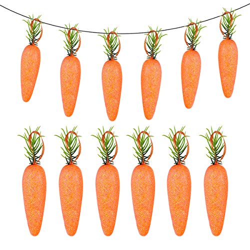 TINKSKY 20PCS Carrot Easter Decor Hanging Artificial Carrots Easter Foam Glitter Simulation Carrots Vegetables Easter Gift for Easter Decoration Easter Party Supplies