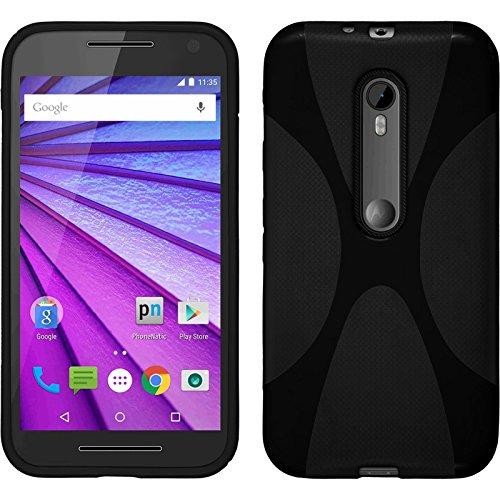 PhoneNatic Hülle für Motorola Moto G 2015 3. Generation Hülle Silikon schwarz X-Style Cover Moto G 2015 3. Generation Tasche + 2 Schutzfolien