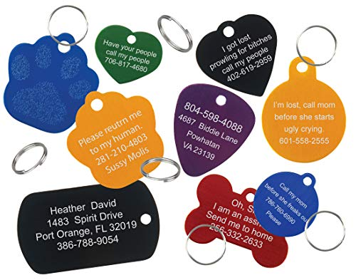 Premium Anodized Aluminum Pet ID Tag with Custom Laser Engraving (Green, Heart, Small)