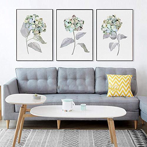 Aquarel grijze bloem Fine Art Print natuur Art Floral Wall Art Hortensia minimalistische Canvas schilderij slaapkamer Home Decor-60x80cmx3pcs geen frame