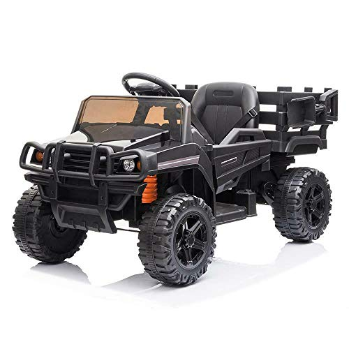 ZSZAUA Kids Ride On Truck - 12V Battery Powered Electric Ride On Car with 2.4 GHZ Remote Control Black