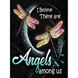 Gofission Diamond Painting Quotes I Believe There are Angels Among Us Dragonfly by Numbers Kits, DIY 5D Diamond Art Cross Stitch Full Drill Crystal Rhinestones 12x16 inch (Quotes)