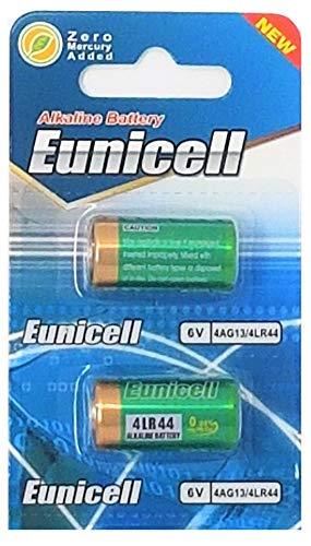 2 x 4LR44 6V (1 Blister a 2 Batterien) Quecksilberfreie Alkaline Batterien PX28, 4G13, 476A, L1325 EINWEG Markenware EUNICELL