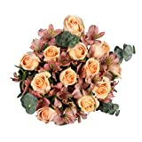 GlobalRose Bouquet Grandiose Roses and Alstroemeria with Greens- Fresh Flower Delivery- Peach and Pink