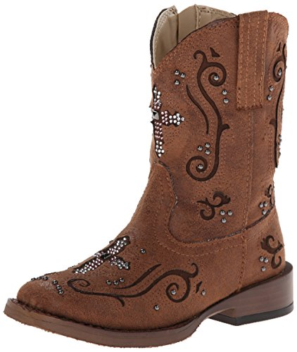 Roper Faith Square Toe Bling Cowgirl Boot (Toddler/Little Kid), Brown, 12 M US Little Kid