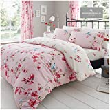 Gaveno Cavailia Luxury BIRDIE BLOSSOM Bed Set with Duvet Cover and Pillow Case, Polyester-Cotton, Pink, King