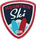 2 x Ski Abzeichen gewebt 55 x 60 mm rot-blau / Aufnäher Aufbügler Sticker Patch / alpin Alpen Winter Wintersport Skifahren Skiatlas Skigebiet Skiführer Skibindung Snowboard Österreich Schweiz Allgäu
