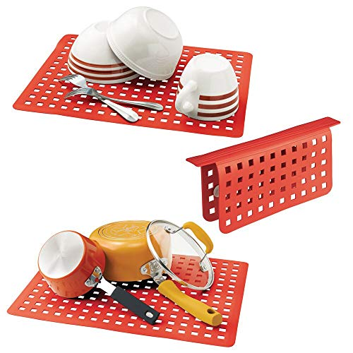 mDesign Decorative Kitchen Plastic Sink Protector Set - Protect Surfaces and Dishes - Quick Draining, Modern Slotted Design - Includes 1 Saddle, 2 Large Mats - Set of 3 - Red