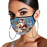 Dwevkeful Weihnachten 2021 Neujahr Briefe Mundschutz Bandanas mit Motiv Einzigartig Waschbar Baumwolle Mund-Nasen Bedeckung Halstuch Schals für Männer und Frauen