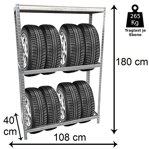 Grafner® Reifenregal mit Kantenschutz Lagerregal Schwerlastregal Reifen Regal Aufbewahrung Felgenregal